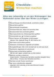 Wohnwagen / Wohnmobil Winterfest machen - Update  & Checkliste 2
